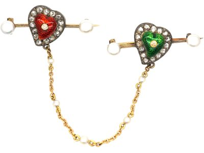 Edwardian Suffragette Pair of 15ct Gold, Rose Diamond, Enamel & Bouton Pearl Heart Shaped Brooches in Original Case
