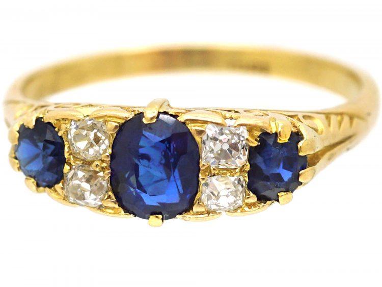 Edwardian 18ct Gold, Three Stone Sapphire & Diamond Carved Half Hoop Ring