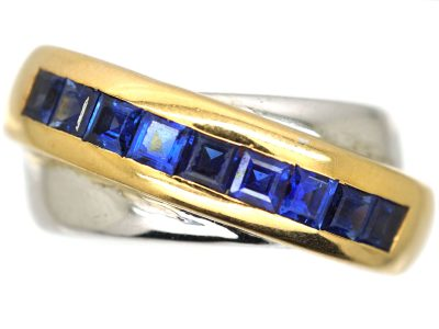 18ct Two Tone Gold and Sapphire Double Band Ring by Cartier