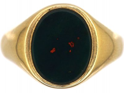 9ct Gold Signet Ring set with a Bloodstone