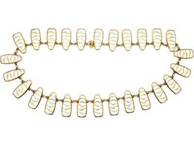 Silver & White Enamel Necklace by David Andersen