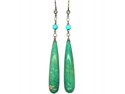 Art Deco Rose Diamond, Turquoise, Natural Pearl & Amazonite Drop Earrings by Liberty in Original Case