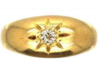 Victorian 18ct Gold, Single Stone Diamond Gypsy Ring