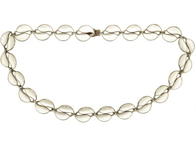 Mid 20th Century Silver & White Enamel Double Leaf Necklace by Willy Winnaes for David Andersen