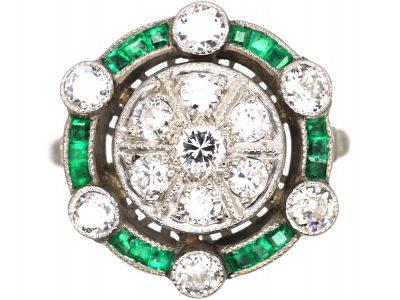 Art Deco Platinum, Emerald & Diamond Cluster Target Ring