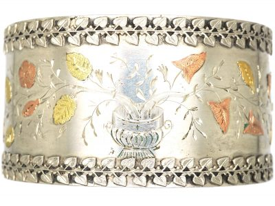 Victorian Silver & Gold Overlay Bangle with a Vase of Flowers Motif
