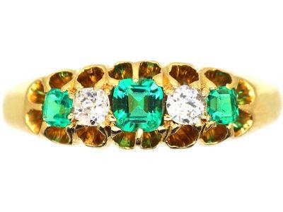 Victorian 18ct Gold, Emerald & Diamond Five Stone Ring