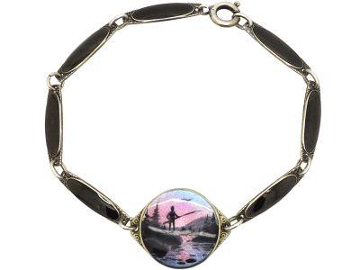 Norwegian Silver & Enamel Bracelet with Fisherman in Northern Landscape