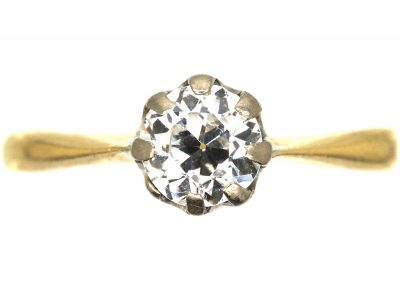 18ct Gold & Platinum, Diamond Solitaire Ring