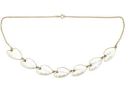 1950s White Enamel Lily Pad Necklace by Finn Jensen