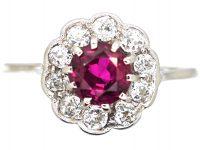 Edwardian Platinum, Ruby & Diamond Cluster Ring