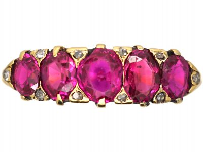 Victorian 18ct Gold, Five Stone Ruby Ring with Diamond Points