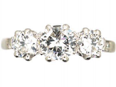 Art Deco Platinum, Three Stone Diamond Ring by Deakin & Francis