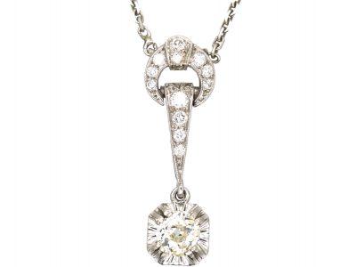 Art Deco Platinum & Diamond Pendant on Platinum Chain