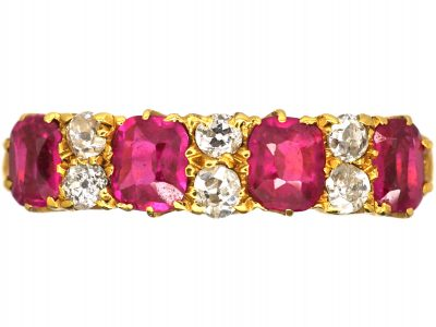 Edwardian 18ct Gold, Four Stone Ruby & Diamond Ring