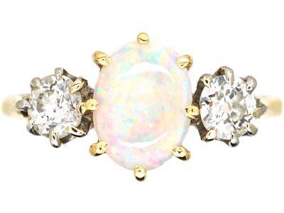 Early 20th Century 18ct Gold & Platinum, Three Stone Opal & Diamond Ring
