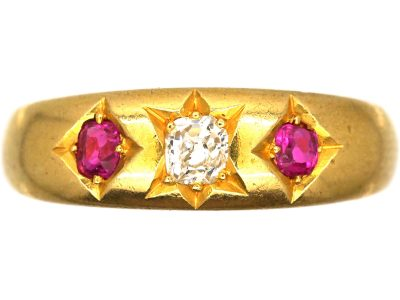 Victorian 18ct Gold Ruby & Diamond Three Stone Gypsy Ring