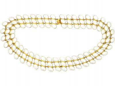 Mid 20th Century Silver & White Enamel Three Row Collar By JB Balruud