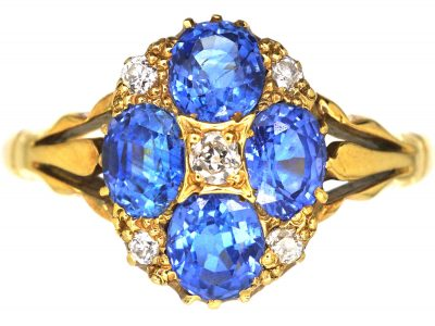 Edwardian 18ct Gold, Four Stone Sapphire & Diamond Cluster Ring