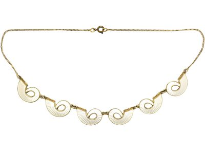 Norwegian Mid 20th Century Silver & White Enamel Curve Necklace
