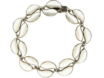 Silver Double leaf Motif Bracelet by David Andersen