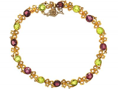Edwardian 9ct Gold Suffragette Bracelet set with Peridots, Natural Split Pearls & Almandine Garnets