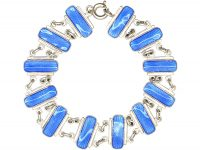 Mid 20th Century Silver & Blue Enamel Bracelet by Volmer Bahner