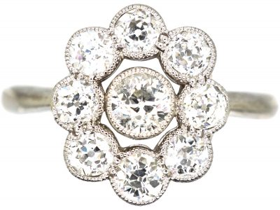 Edwardian 18ct White Gold, Diamond Oval Cluster Ring