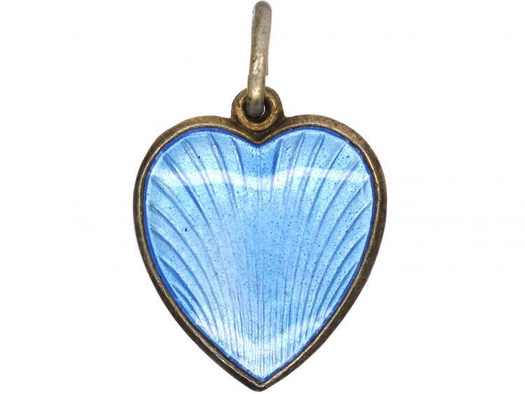 Silver & Blue Enamel Heart Shaped Pendant by Aksel Holmsen