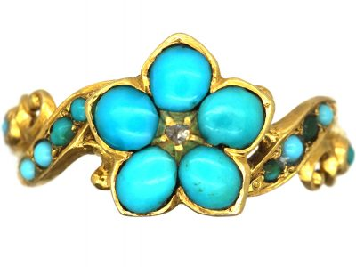 Regency 15ct Gold Turquoise & Diamond Forget Me Not Cluster Ring