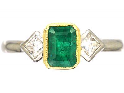 18ct White Gold, Rectangular Emerald & Diamond Three Stone Ring