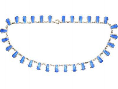 Silver & Blue Enamel Necklace by Volmer Bahner