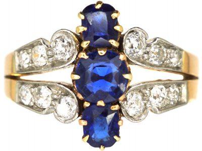 French Belle Epoch 18ct Gold& Platinum, Three Stone Sapphire & Diamond Ring