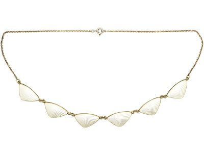 Mid 20th Century Silver & White Enamel Necklace by H C Ostrem