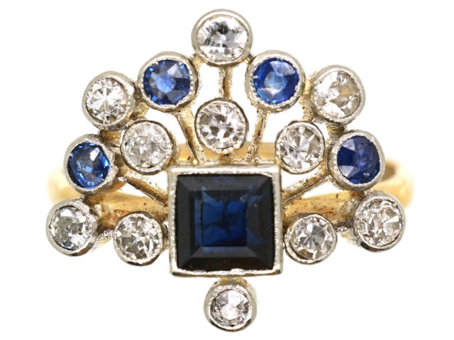 Edwardian 18ct Gold & Platinum, Sapphire & Diamond Firework Ring