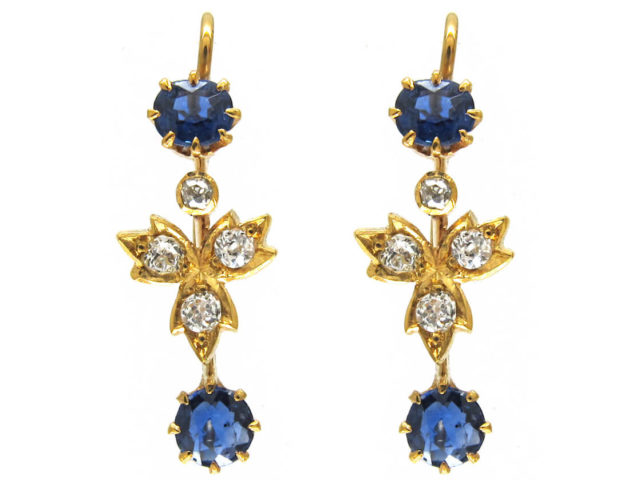 18ct Gold Edwardian Sapphire ​& Diamond Drop Earrings