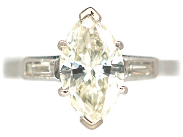 18ct White Gold, Diamond Marquise Ring with Baguette Shoulders