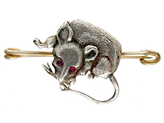 Silver Rat Brooch with Ruby Eyes