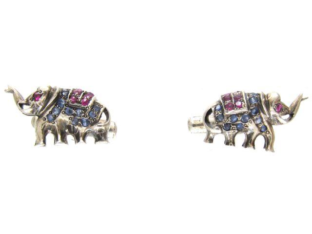 Silver, Sapphire & Ruby Elephant Cufflinks