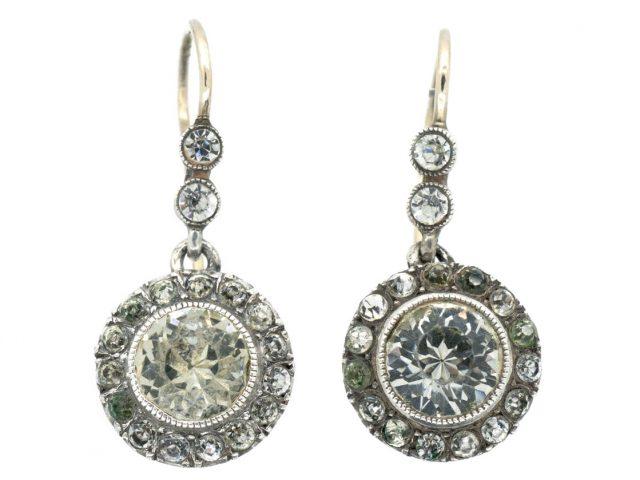 Edwardian Silver & Gold Paste Cluster Drop Earrings