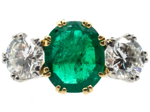 Columbian Emerald & Diamond Three Stone Ring