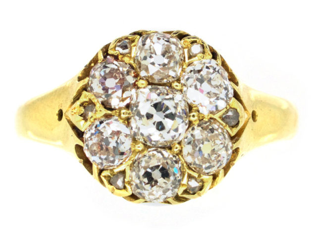 Victorian Old Mine Cut Diamond Cluster Ring