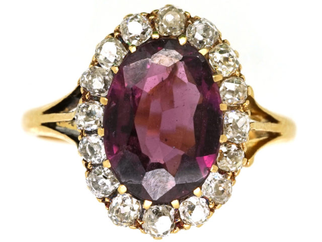 Edwardian 18ct Gold, Diamond & Large Oval Garnet Ring
