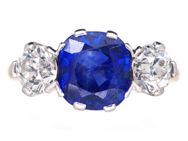 3 Carat Sapphire & Diamond Three Stone Ring