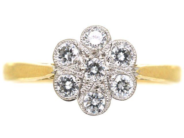 18ct Gold & Platinum, Diamond Cluster Ring