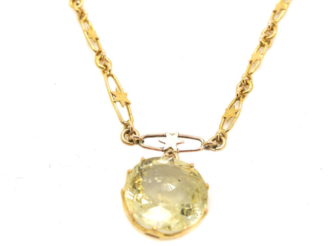 Art Deco 18ct Gold & Yellow Sapphire Necklace