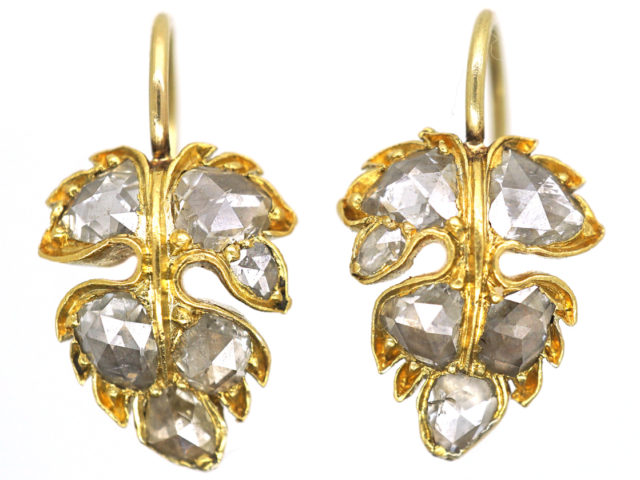 Georgian 18ct Gold Rose Diamond Vine Leaf Earrings