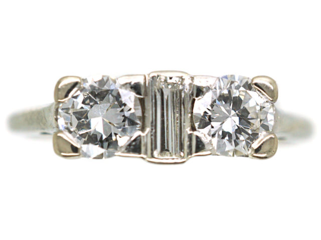 Art Deco 18ct White Gold Three Stone Diamond Ring