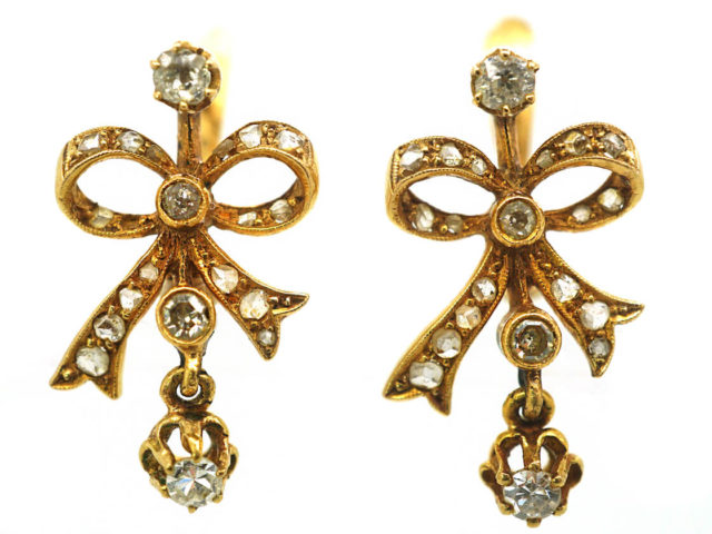 Belle Epoque French 18ct Gold & Diamond Bow Earrings