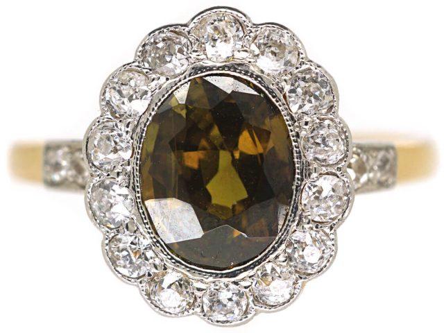 Edwardian 18ct Gold & Platinum, Natural Colour Change Alexandrite & Diamond Cluster Ring